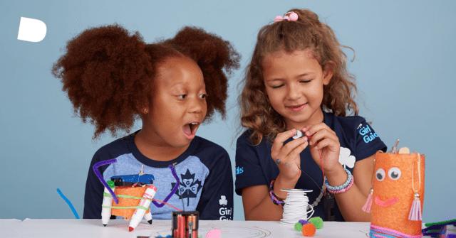 Girls building arts & crafts