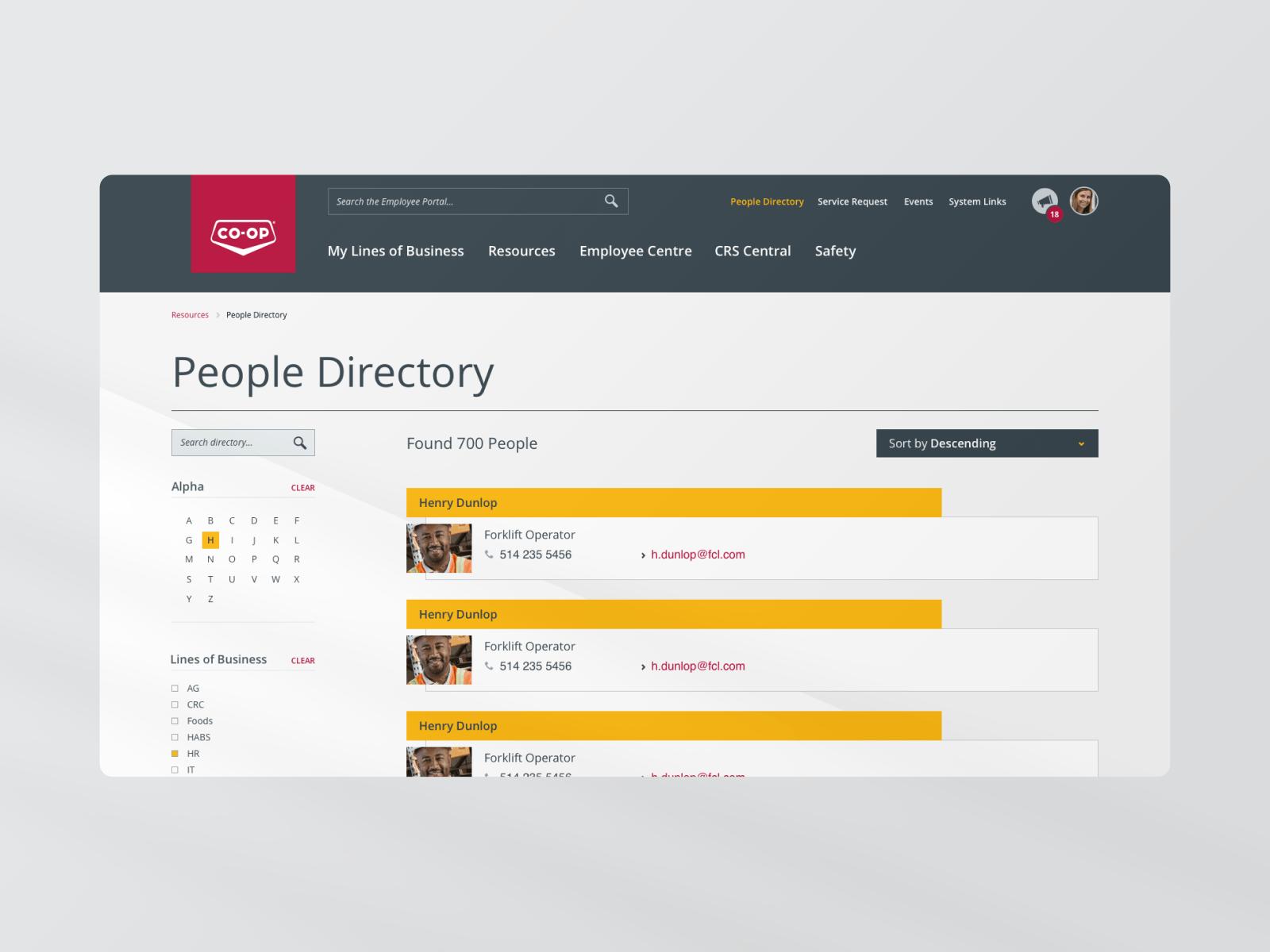FCL Hub People Directory webpage