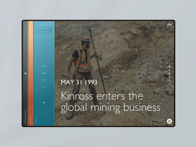 Kinross 25th Anniversary Timeline webpage