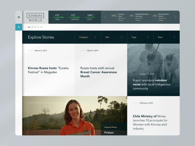 Kinross World explore webpage