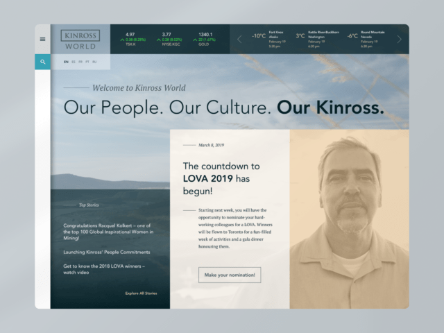 Kinross World homepage