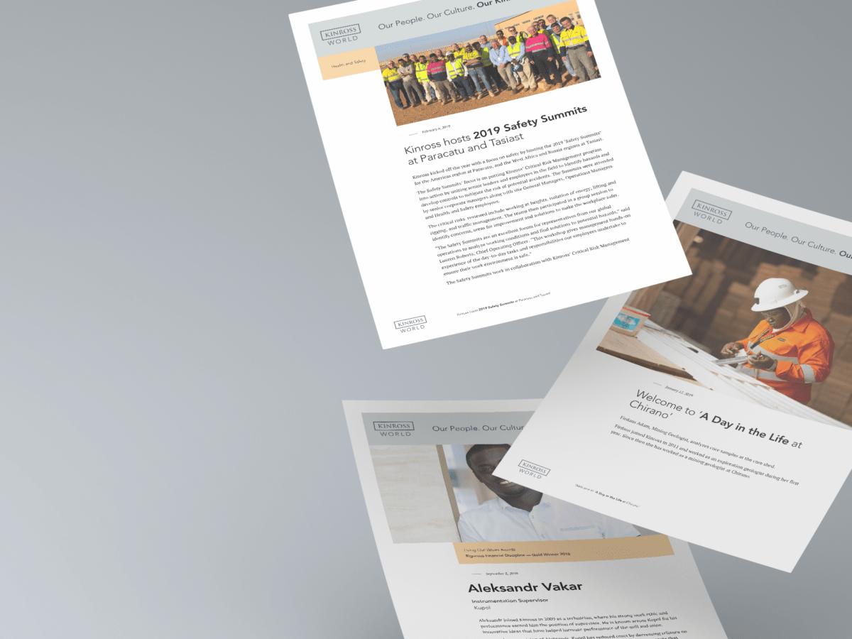 Kinross World bulletin printouts